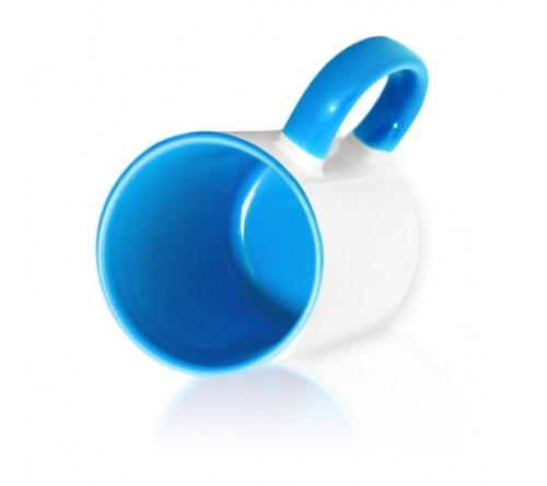 Кружка цветная внутри+цв. ручка Sublimation B101 (голубая) арт MUG03
