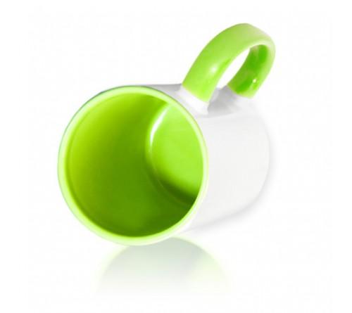 Кружка цветная внутри+цв. ручка Sublimation B101 (светло-зеленая) арт MUG03