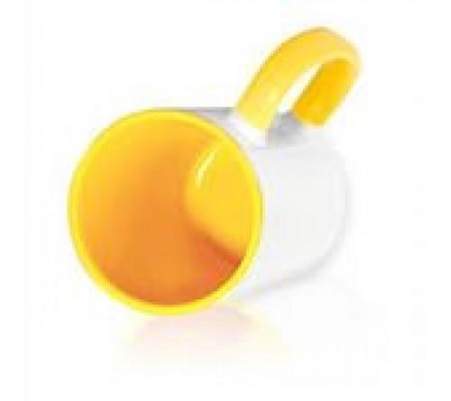 Кружка цветная внутри+цв.ручка Sublimation B101 (желтая) артMUG03
