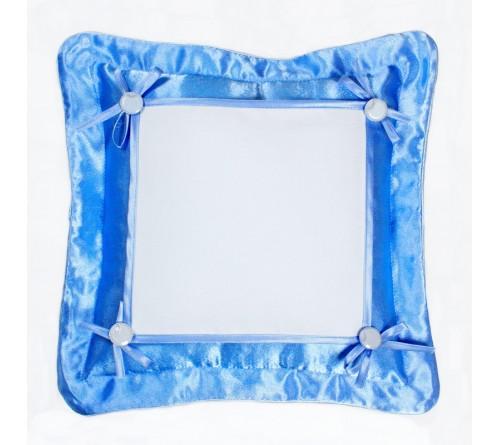 Подушка квадратная Омелия 39*39 голубая 22*22