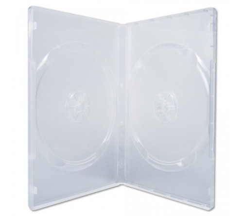 DVD бокс Стандарт 14 мм  DVD-  2  ПРОЗРАЧНЫЙ глянцевый Двухсторонний (100)