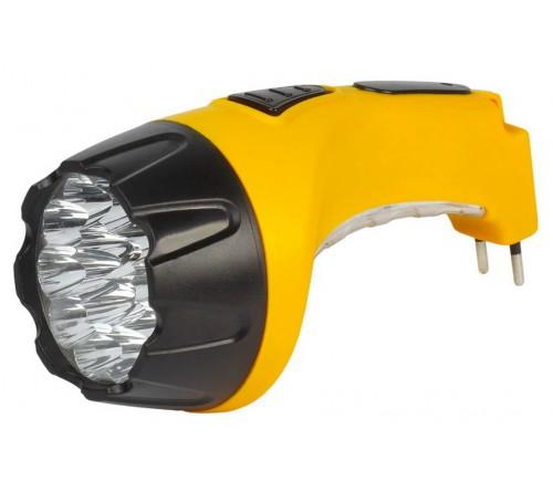 Фонарь Smartbuy SBF-  89-Y, жёлтый. Аккумуляторный светодиодный фонарь. 15LED+10LED. Аккумулятор 4V 0.8Ah. Подзарядка от сети 220 V