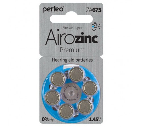 PERFEO        ZA 675  ( 6BL)(60) Airozinc Premium для слуховых аппаратов 1.4 V