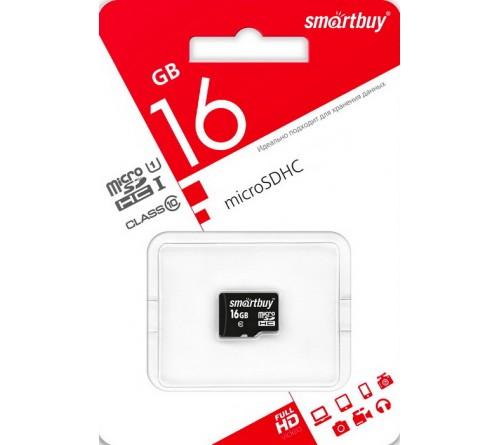 Карта памяти  MicroSDHC     16Gb (Class  10)  SmartBuy  без Адаптера