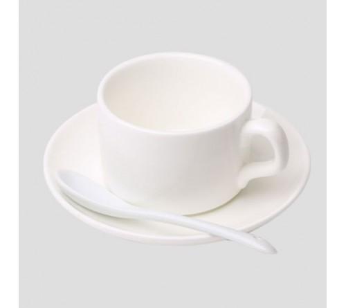 Кружка керамическая, белая, кофейная, с блюдцем и ложкой, 110 мл