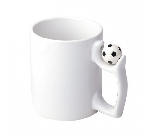 Кружка белая, с футбольным мячом на ручке 330мл Премиум