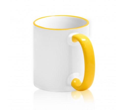 Кружка керамика белая, ободок и ручка Жёлтая стандарт 330мл