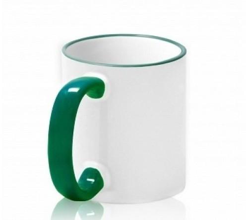 Кружка керамика белая, ободок и ручка Зелёная стандарт 330мл