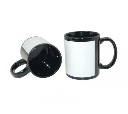 Кружка керамика черная, с белым полем для печати стандарт 330мл