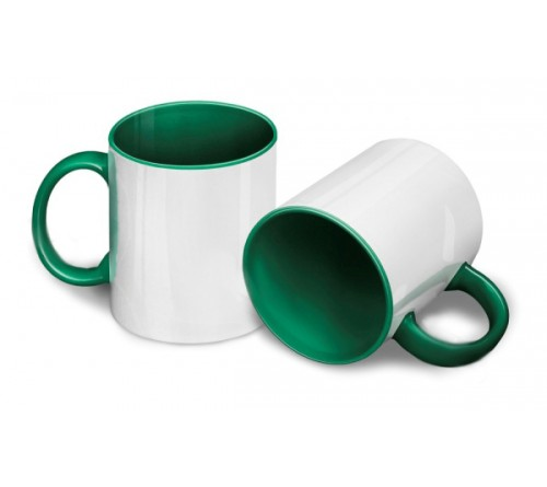 Кружка цветная внутри+цв. ручка Sublimation B101 (зеленая) арт MUG03 330 мл