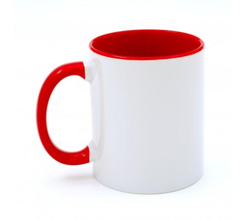 Кружка цветная внутри+цв. ручка Sublimation B101 (красная) артMUG03 330 мл