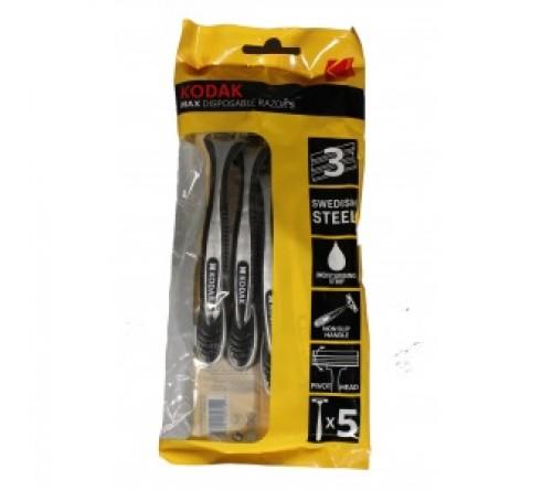 Одноразовые станки для бритья Kodak   3-лезвия плавающая головка увлажняющая полоска прорезиненная ручка 5 шт  30419971  (120/480)
