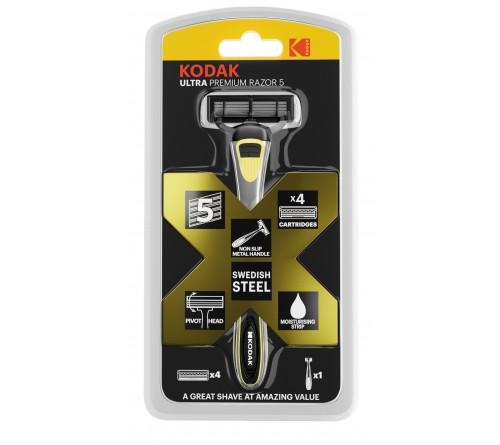 Бритвенные системы Kodak   Бритва мужская 5 лезвий металлическая ручка плавающая головка 4 сменные кассеты  30421974