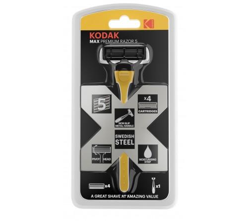 Бритвенные системы Kodak   Бритва мужская 5 лезвий прорезиненная ручка плавающая головка 4 сменные кассеты 30422032