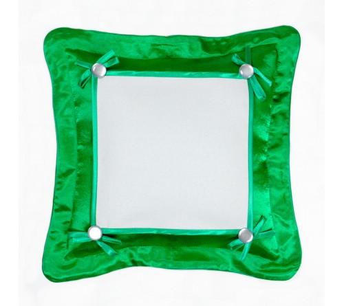 Подушка квадратная Омелия 39*39 зеленая 22*22