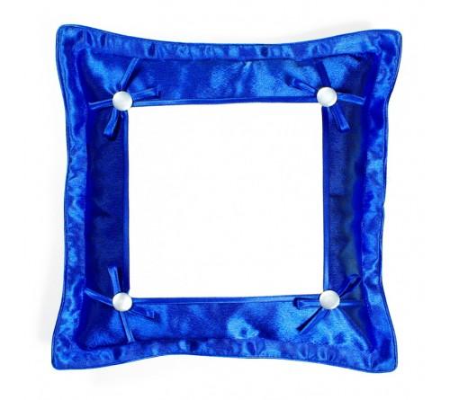 Подушка квадратная Омелия 39*39 синий-металлик 22*22