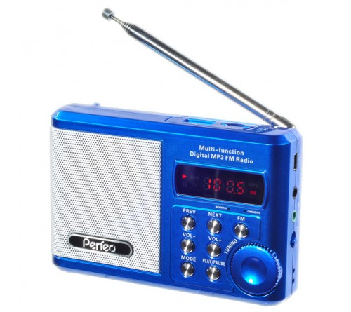 Радиоприемник-миниспикер Perfeo PF-SV922BLU Sound Ranger   УКВ+FM,MP3 USB,microSD BL-5C Blue