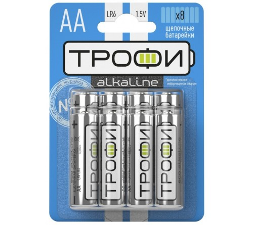 Батарейка ТРОФИ            LR6  Alkaline  (  8BL)(80)(640)