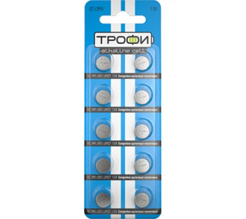 Батарейка ТРОФИ   G 7        (10BL)(  500)  399/LR  926/LR57/195/GP95A/SR  927W/395
