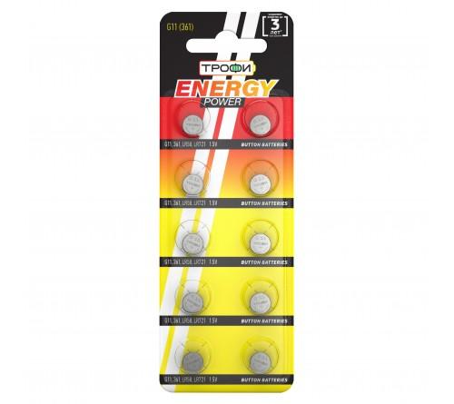 Батарейка ТРОФИ   G11       (10BL)(1000)  361/LR  721/LR58/162/GP62A/SR  721W/362