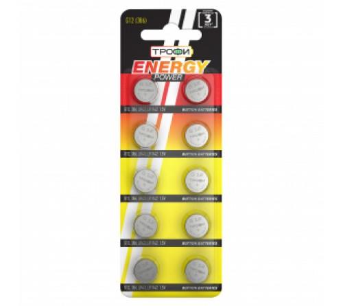 Батарейка ТРОФИ   G12       (10BL)(  500)  386/LR    43/LR43/186/GP86A/SR    43W
