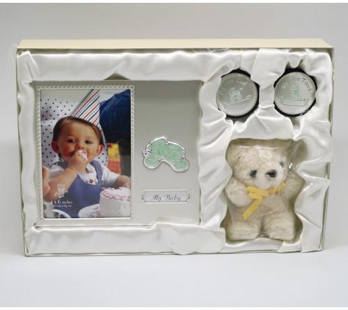 Ф/рамка OLDENA   GS-31C набор Первый зубик рамка 10x15 см +2 шкатулки + игрушка 1x20 см,  алюминий