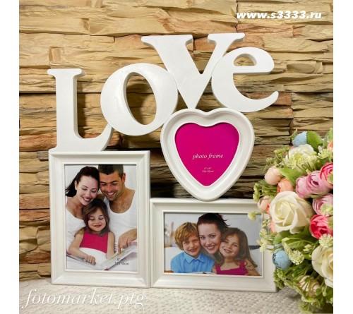 Ф/Рамка Комбинированная на   3 фото   BIN-1122915 Белая 3 фото LOVE                 (24)
