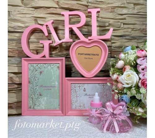 Ф/Рамка Комбинированная на   3 фото   BIN-1122915 Розовый 3 фото Girl                 (24)