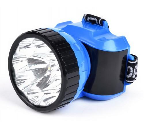 Фонарь Smartbuy SBF-  25-B, синий. Аккумуляторный налобный фонарь. 1ВТ + 8 LED LED. Дальность освещения 150м