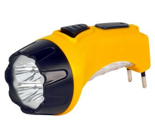 Фонарь Smartbuy SBF-  87-Y, жёлтый. Аккумуляторный светодиодный фонарь. 4LED+6LED. Аккумулятор 4V 0.5Ah. Подзарядка от сети 220 V