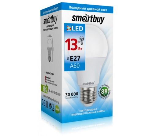 Лампа светодиодная SmartBuy (LED) A60-  13W-6000K E27 Холодный Дневной свет