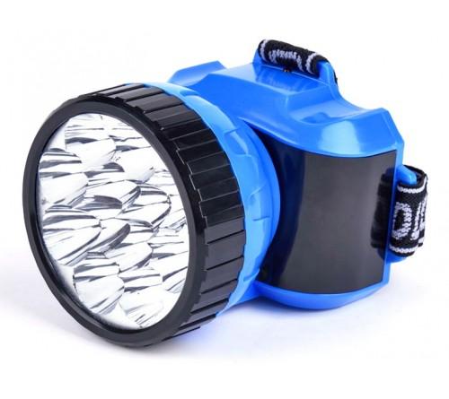Фонарь Smartbuy SBF-  26-B, синий. Аккумуляторный налобный фонарь. 12 LED. Дальность освещения 150м