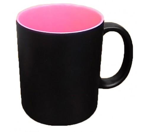 Кружка хамелеон (черная) глянцевая со звездами 330 мл  (36)