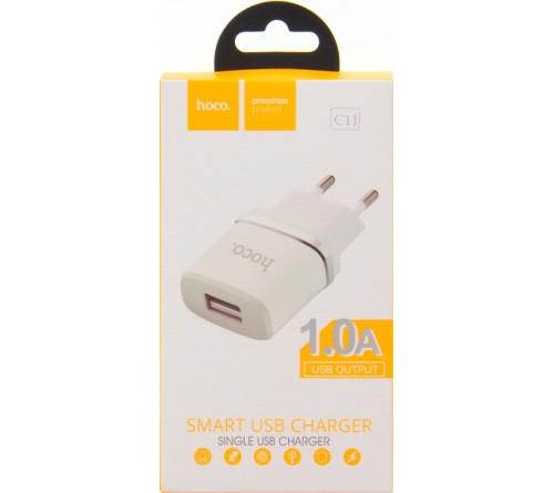 Сетевое Зарядное Устройство 220V- 1*USB выход   Hoco C 11  1.0A White
