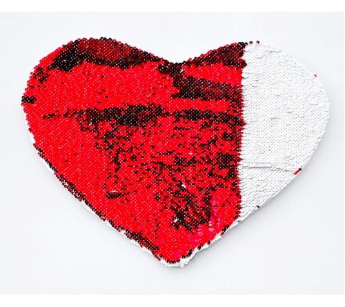 Подушка Афродита СЕРДЦЕ 46*32 белая/красная пайеточная (Примадонна)