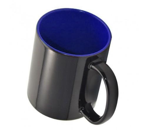 Кружка хамелеон керамика черная внутри синяя стандарт 330 мл
