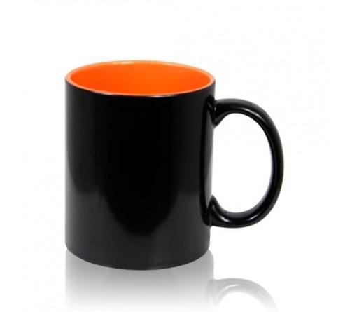 Кружка хамелеон керамика черная внутри оранжевая стандарт 330 мл