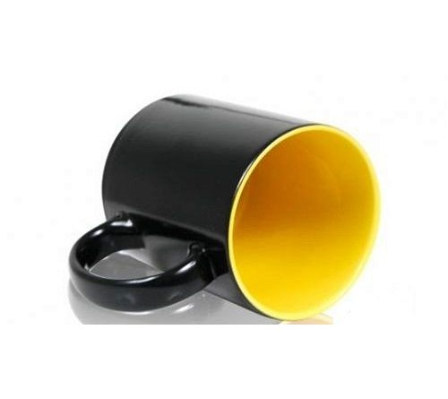 Кружка хамелеон керамика черная внутри желтая стандарт 330 мл
