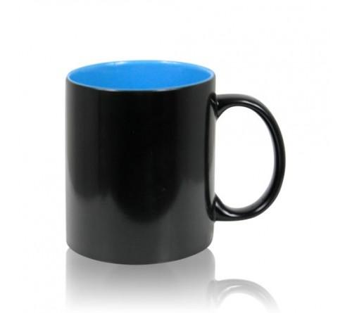 Кружка хамелеон керамика черная внутри голубая стандарт 330 мл