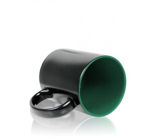 Кружка хамелеон керамика черная внутри зеленая стандарт 330 мл