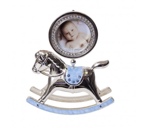 Ф/Рамка PLATINUM PF10342В Blue 6x6 лошадка-качалка голубая, мет.со стрз.  (6/18)