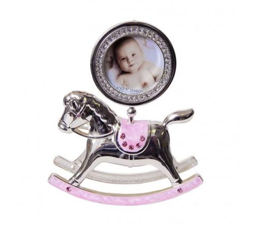 Ф/Рамка PLATINUM PF10342P Pink 6x6 лошадка-качалка розовая, мет.со стрз.  (6/18)