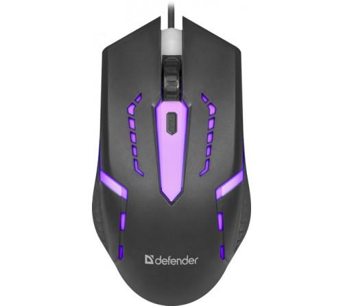 Мышь DEFENDER    601 Hit              (USB,  1200dpi,Optical) Black.7 цветов подсветки