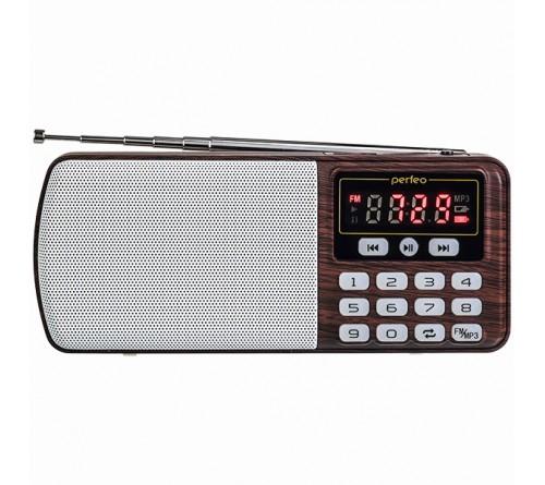 Радиоприемник-миниспикер Perfeo Егерь                             FM,MP3 USB,microSD BL-5C Brown
