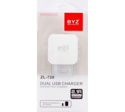 Сетевое Зарядное Устройство 220V- 2*USB выхода BYZ ZL 720 2.1A FAST Charger White Original Clear Box