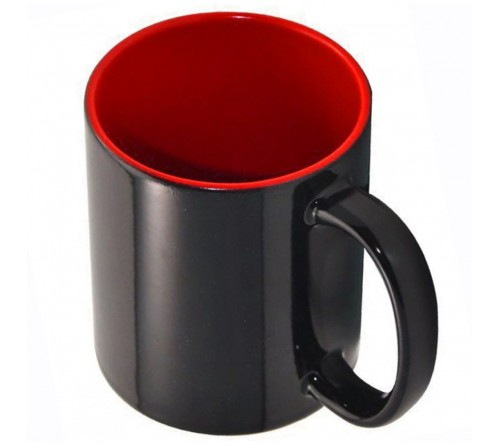 Кружка хамелеон керамика черная внутри красная стандарт 330 мл