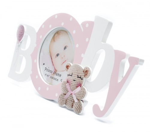 Ф/Рамка из МДФ  FFL - 803, 10x10 см., Baby, розовая (24)