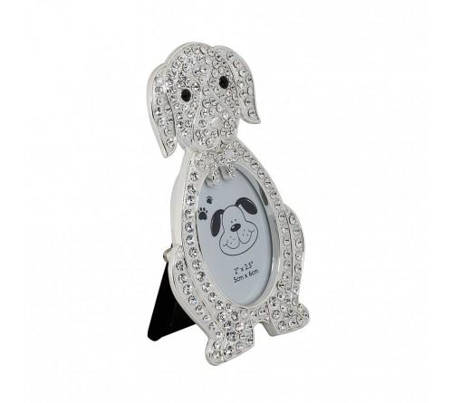 Ф/Рамка PLATINUM PF10270 5x6 минирамка-сувенир, щенок, металлическая со стразами