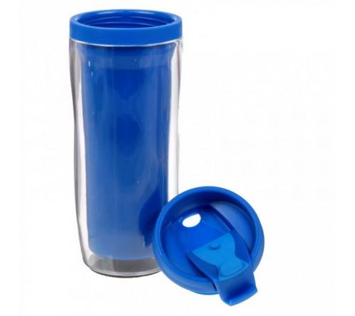 Термостакан пластиковый под полиграфическую вставку синий 350 мл