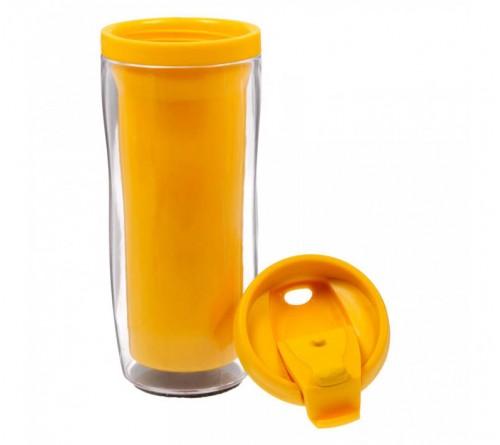 Термостакан пластиковый под полиграфическую вставку желтый 350 мл